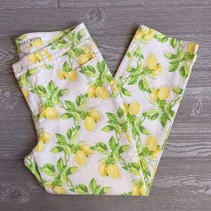 Tallbots Signature Crop Lemon Print Jeans 12